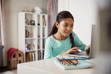 Girl working on PA cyber school curriculum
