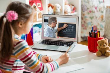 girl working on cyber school program